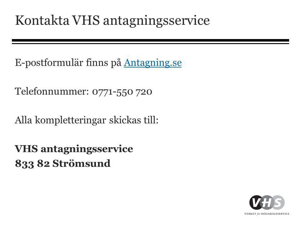 Kontakta VHS antagningsservice