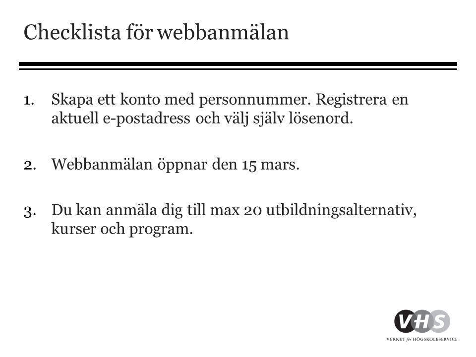 Checklista för webbanmälan