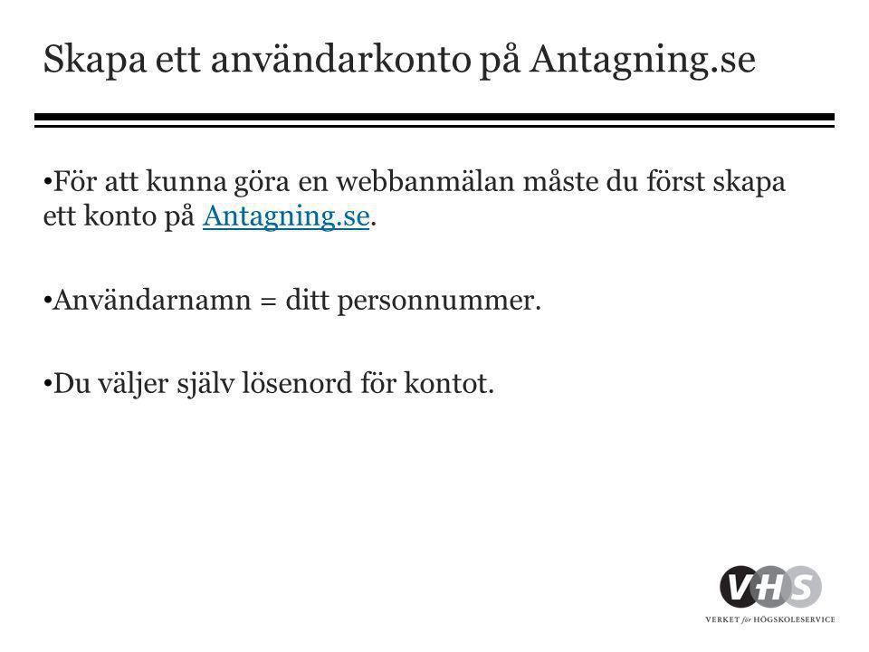 Skapa ett användarkonto på Antagning.se