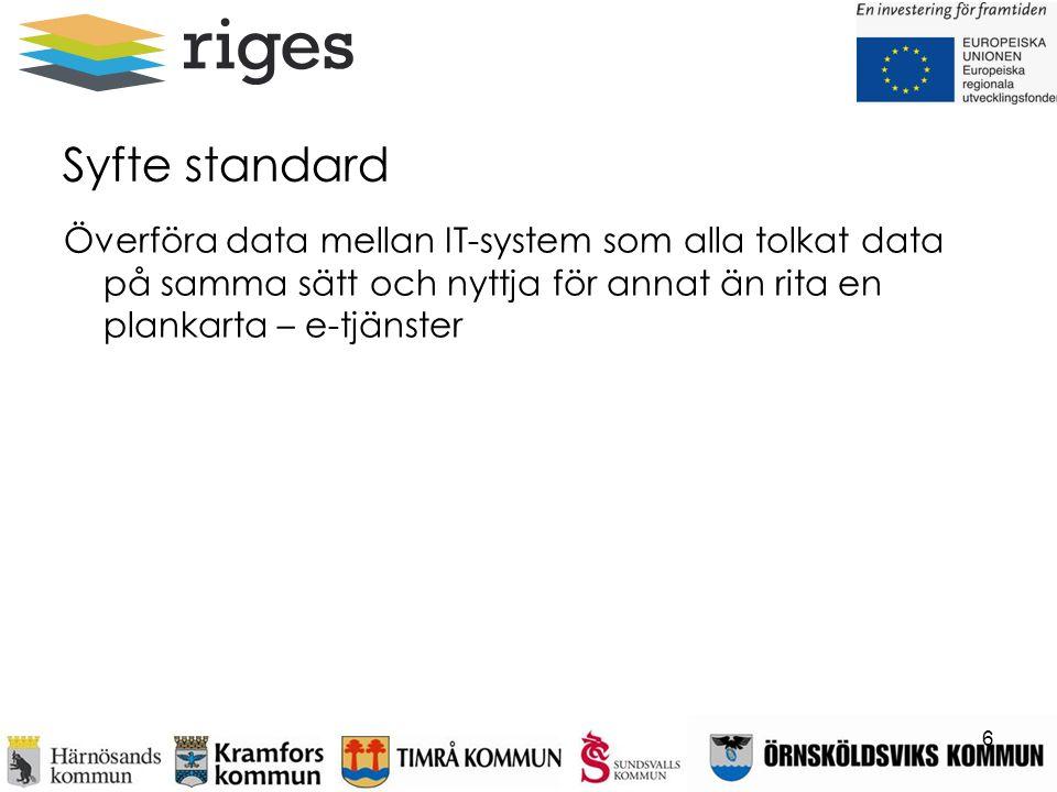 Syfte standard Överföra data mellan IT-system som alla tolkat data på samma sätt och nyttja för annat än rita en plankarta – e-tjänster.