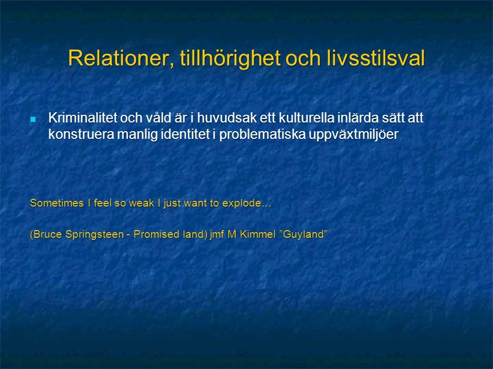 Relationer, tillhörighet och livsstilsval