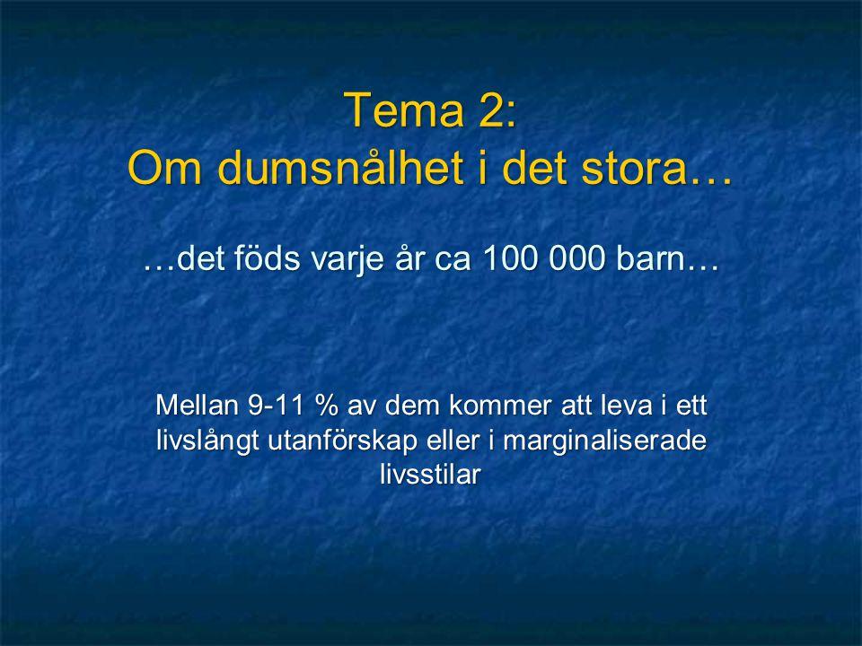 Tema 2: Om dumsnålhet i det stora… …det föds varje år ca 100 000 barn…