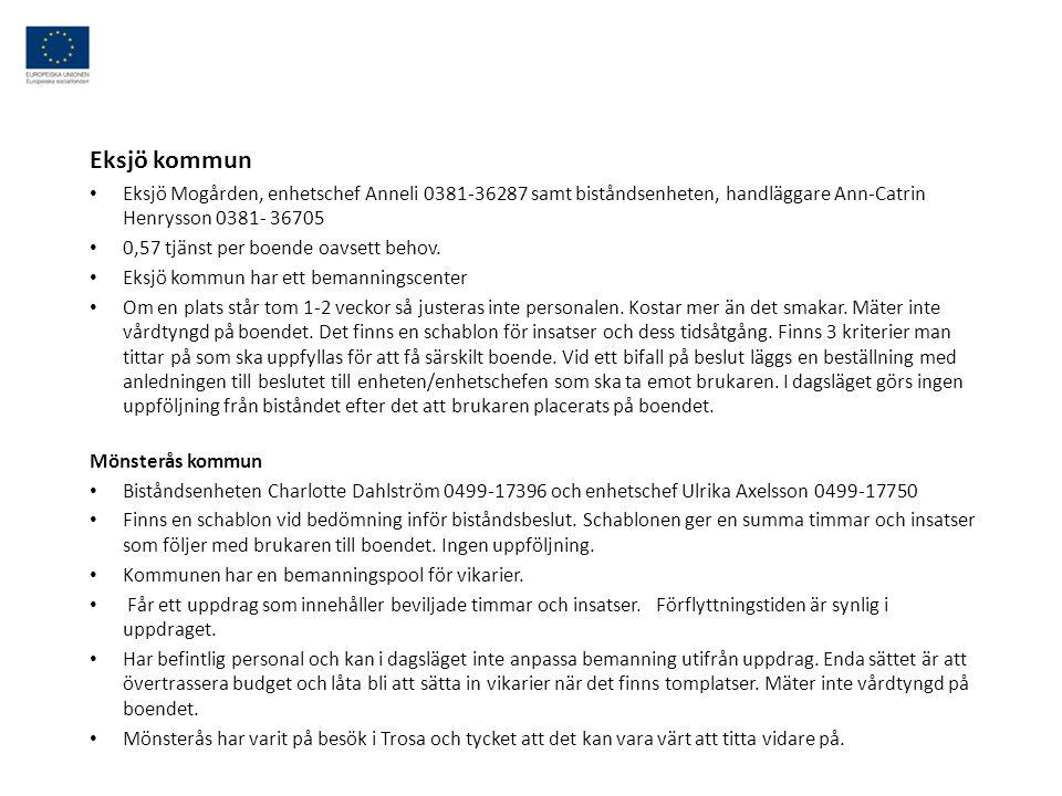 Eksjö kommun Eksjö Mogården, enhetschef Anneli 0381-36287 samt biståndsenheten, handläggare Ann-Catrin Henrysson 0381- 36705.