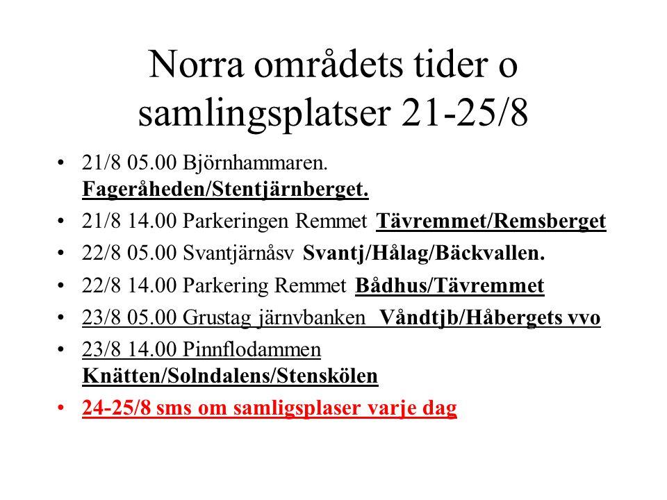 Norra områdets tider o samlingsplatser 21-25/8