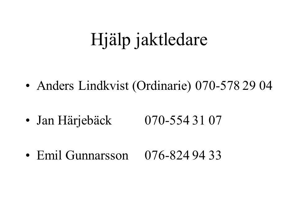 Hjälp jaktledare Anders Lindkvist (Ordinarie) 070-578 29 04