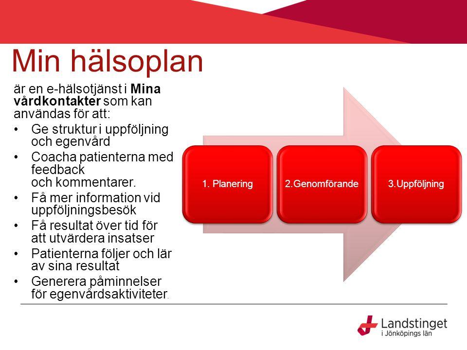 Min hälsoplan är en e-hälsotjänst i Mina vårdkontakter som kan användas för att: Ge struktur i uppföljning och egenvård