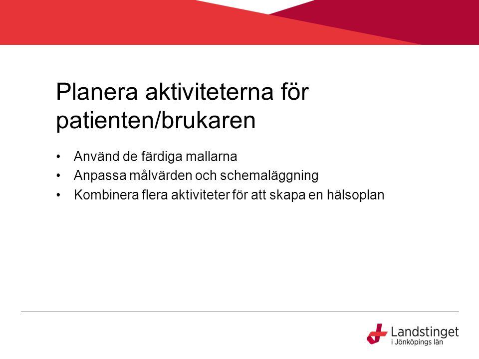 Planera aktiviteterna för patienten/brukaren