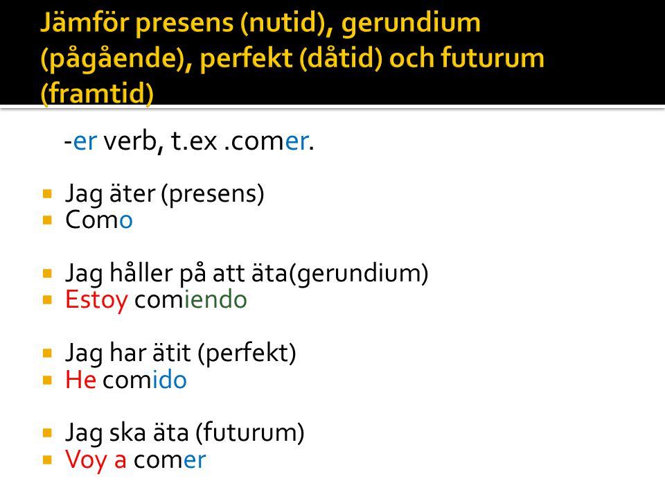 Jämför presens (nutid), gerundium (pågående), perfekt (dåtid) och futurum (framtid)