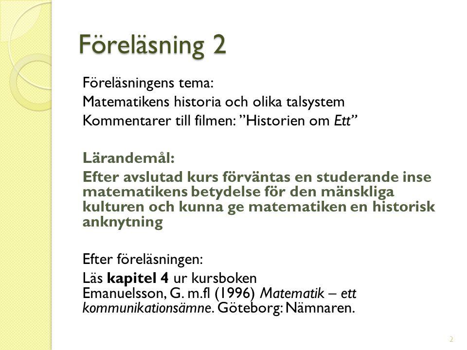 Föreläsning 2