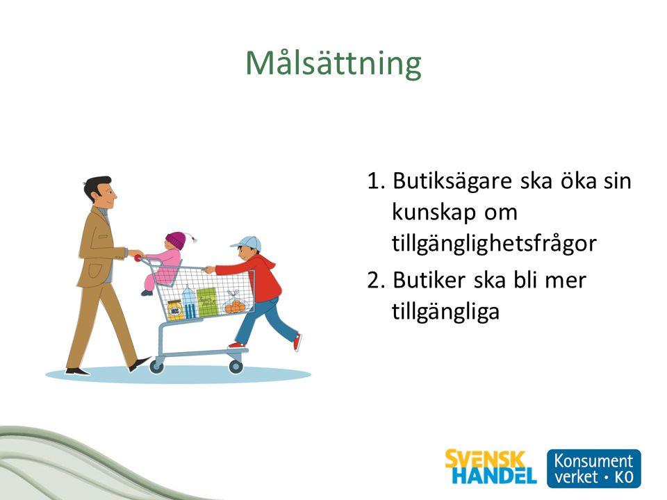 Målsättning 1. Butiksägare ska öka sin kunskap om tillgänglighetsfrågor 2.