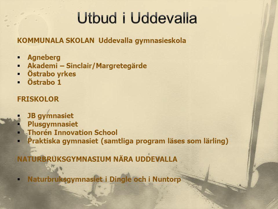 Utbud i Uddevalla KOMMUNALA SKOLAN Uddevalla gymnasieskola Agneberg
