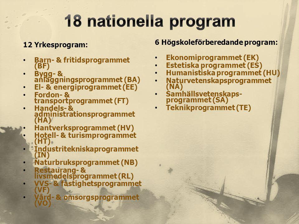 18 nationella program 6 Högskoleförberedande program: 12 Yrkesprogram: