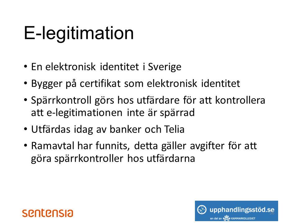 E-legitimation En elektronisk identitet i Sverige