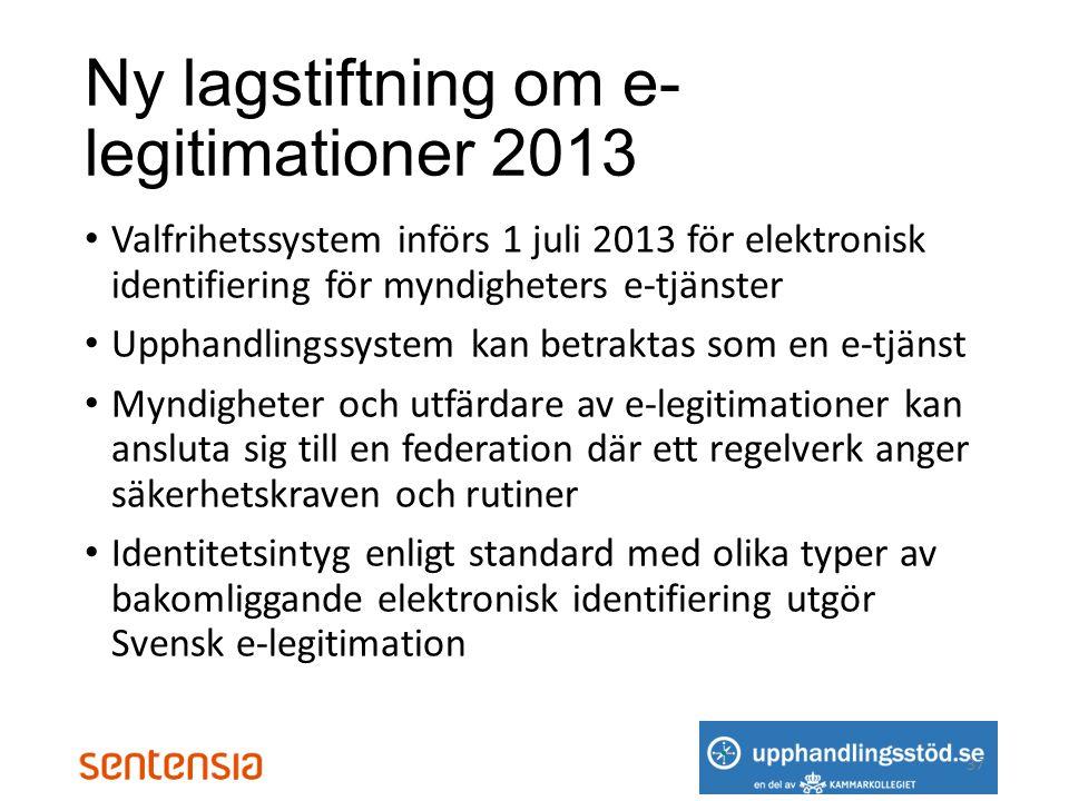 Ny lagstiftning om e-legitimationer 2013