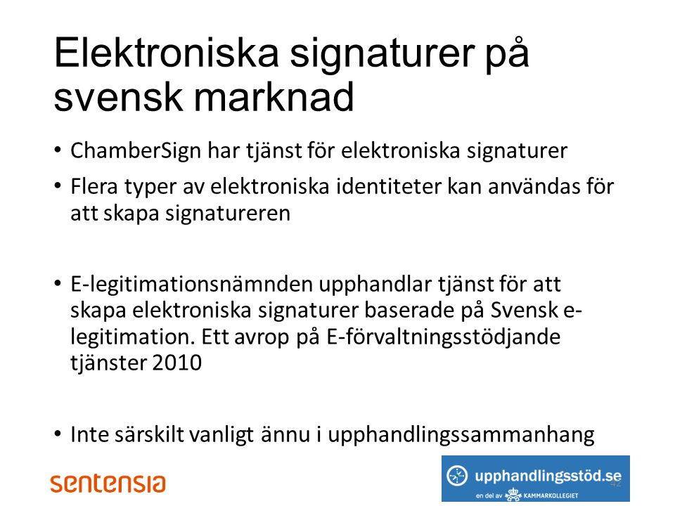 Elektroniska signaturer på svensk marknad