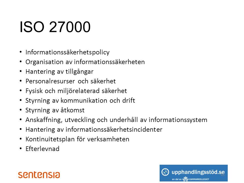 ISO 27000 Informationssäkerhetspolicy