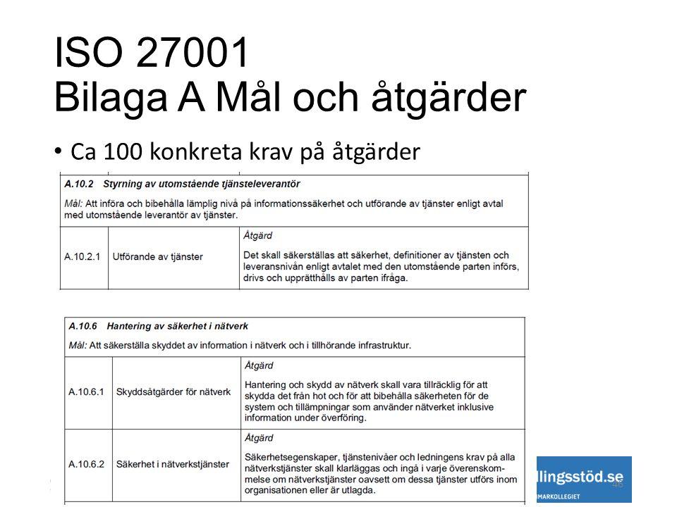 ISO 27001 Bilaga A Mål och åtgärder