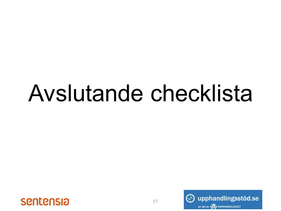 Avslutande checklista
