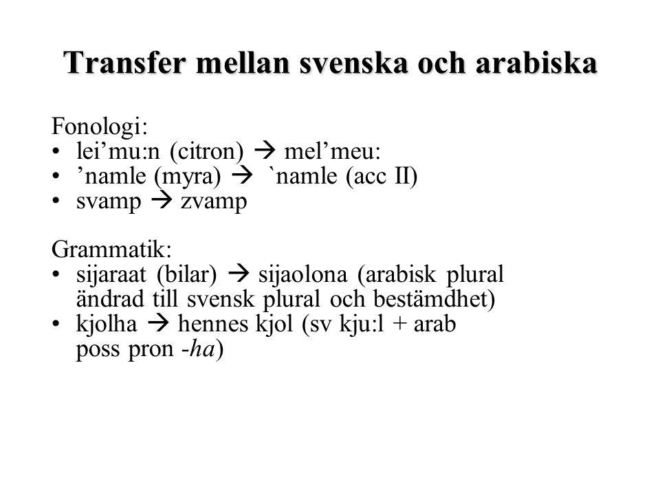 Transfer mellan svenska och arabiska