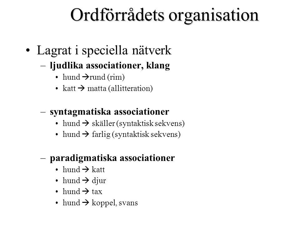 Ordförrådets organisation