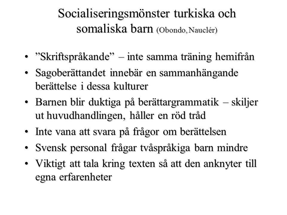Socialiseringsmönster turkiska och somaliska barn (Obondo, Nauclér)