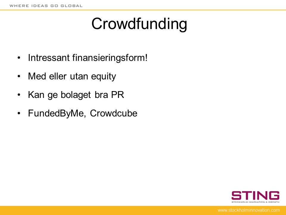 Crowdfunding Intressant finansieringsform! Med eller utan equity