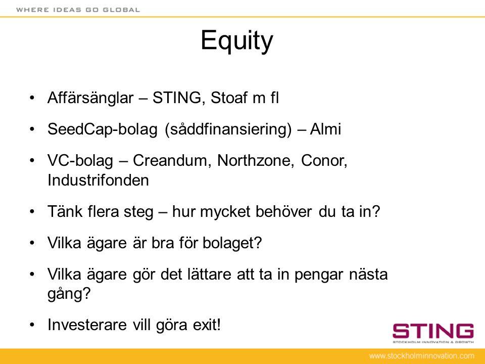 Equity Affärsänglar – STING, Stoaf m fl