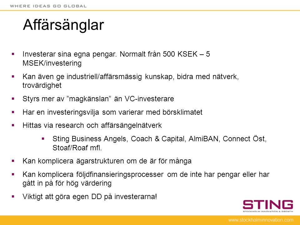 Affärsänglar Investerar sina egna pengar. Normalt från 500 KSEK – 5 MSEK/investering.
