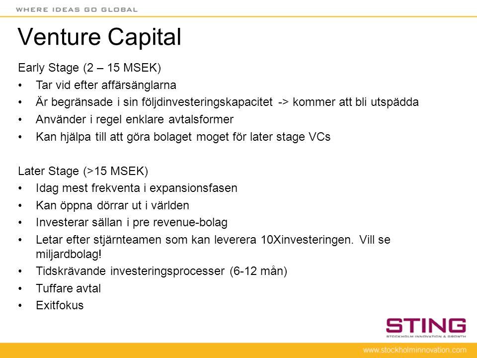 Venture Capital Early Stage (2 – 15 MSEK) Tar vid efter affärsänglarna