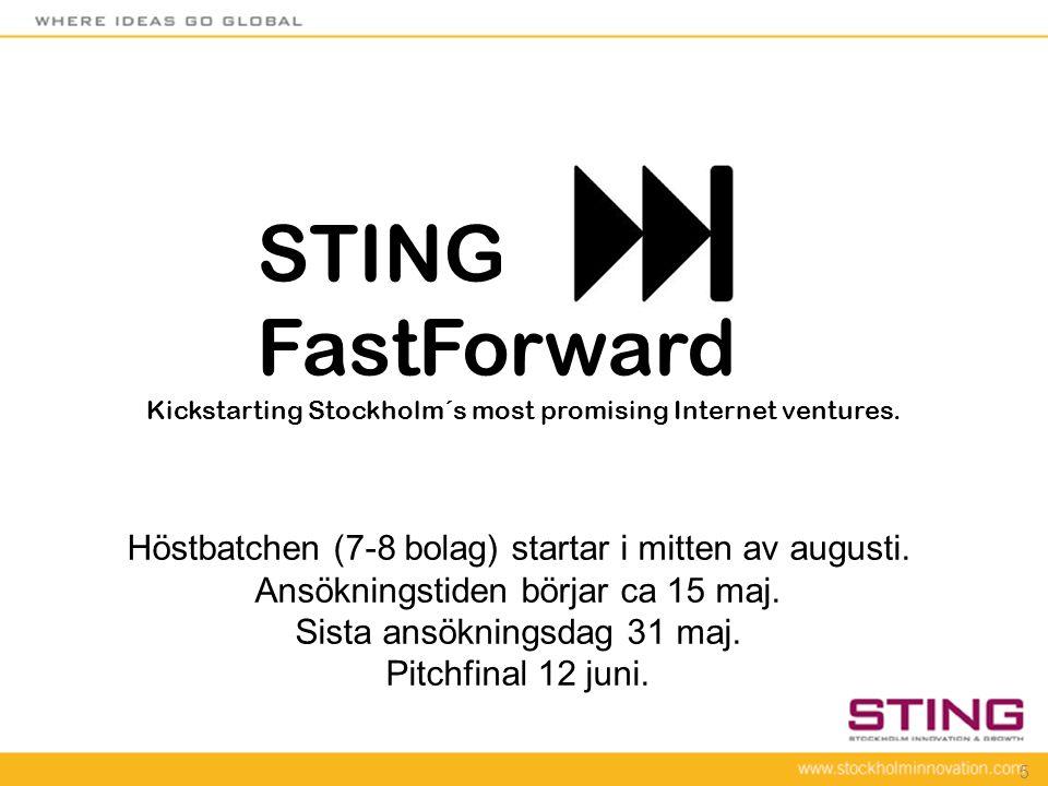 STING FastForward Höstbatchen (7-8 bolag) startar i mitten av augusti.