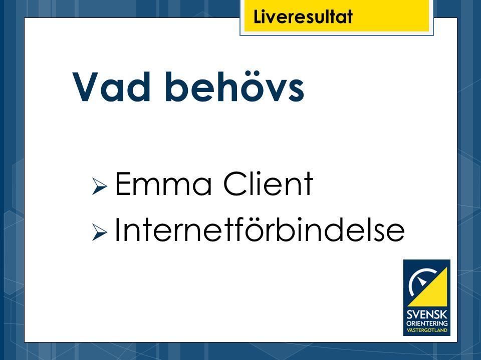 Liveresultat Vad behövs Emma Client Internetförbindelse