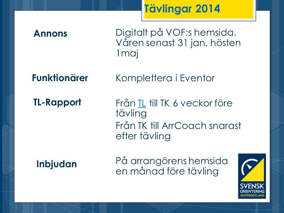 Tävlingar 2014 Annons. Digitalt på VOF:s hemsida. Våren senast 31 jan, hösten 1maj. Komplettera i Eventor.