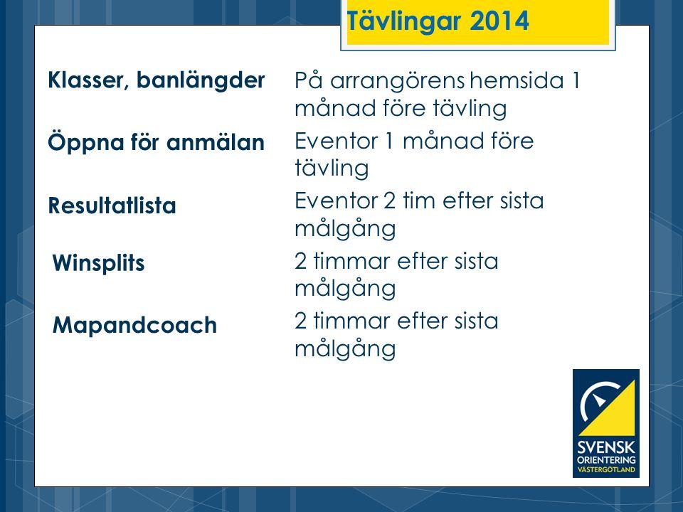 Tävlingar 2014 Klasser, banlängder