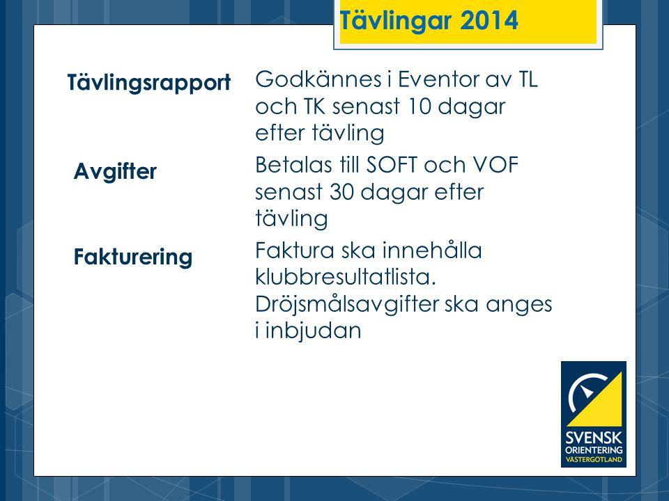 Tävlingar 2014 Tävlingsrapport. Godkännes i Eventor av TL och TK senast 10 dagar efter tävling.