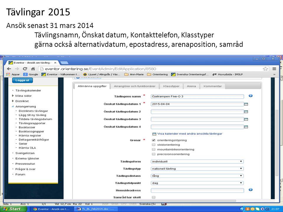 Tävlingar 2015 Ansök senast 31 mars 2014