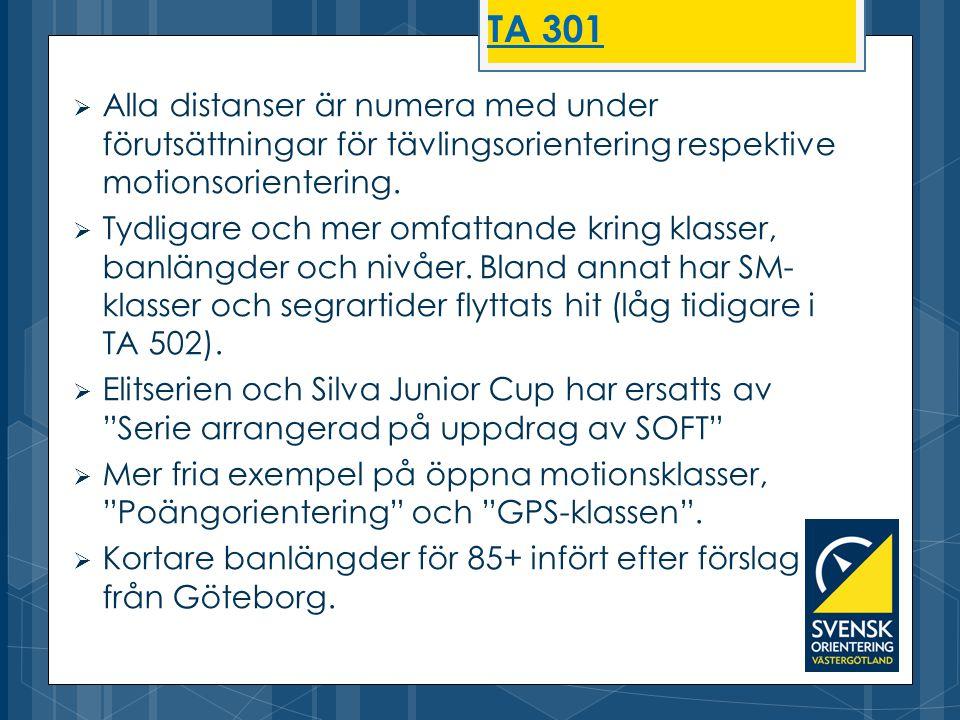 TA 301 Alla distanser är numera med under förutsättningar för tävlingsorientering respektive motionsorientering.