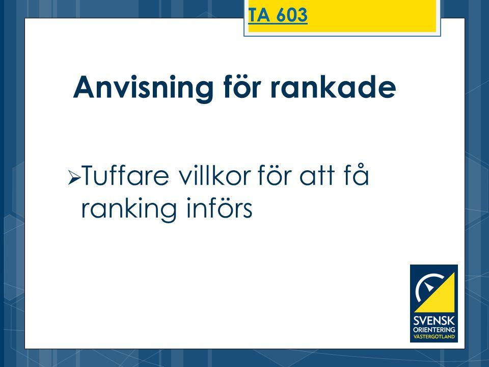 TA 603 Anvisning för rankade Tuffare villkor för att få ranking införs
