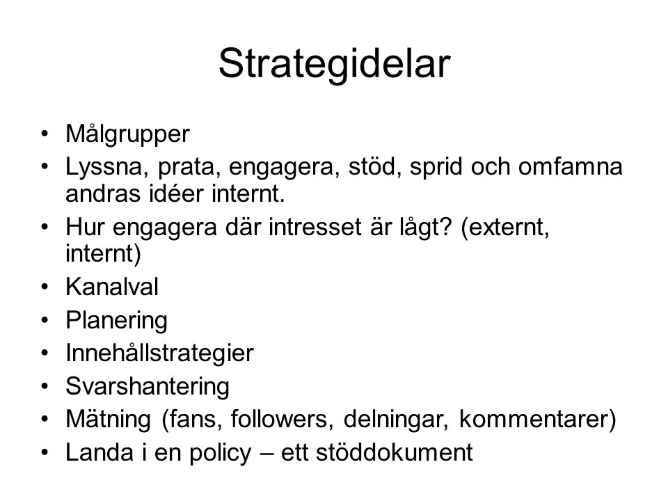 Strategidelar Målgrupper