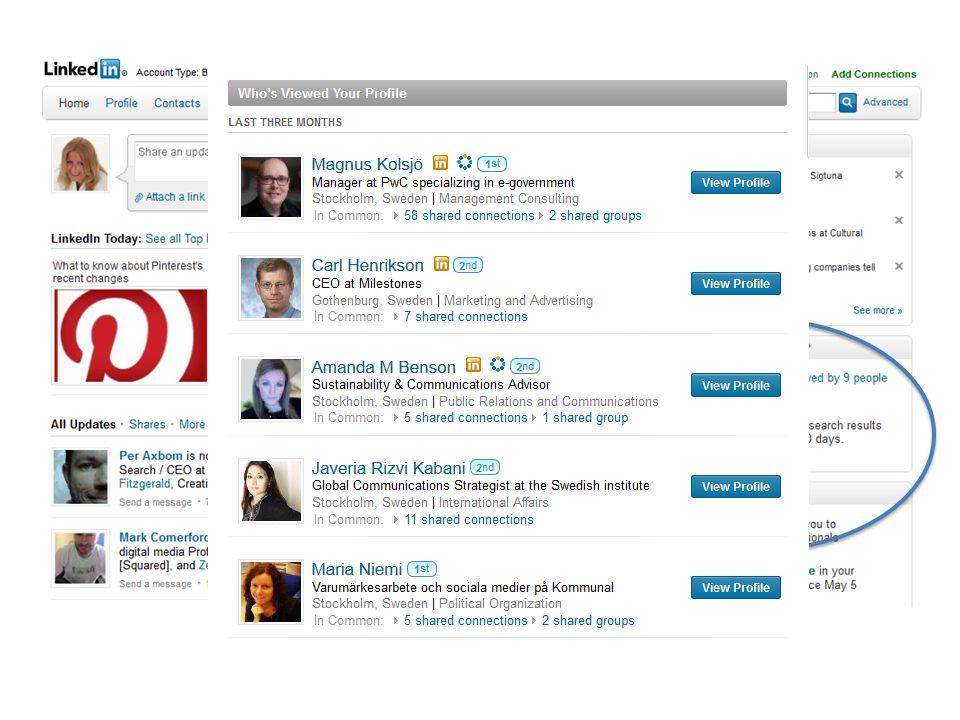 Många fiffiga lösningar i LinkedIn, ha koll och se till att ha ert CV registrerat där, vissa utgår helt från LinkedIn vid t.ex.