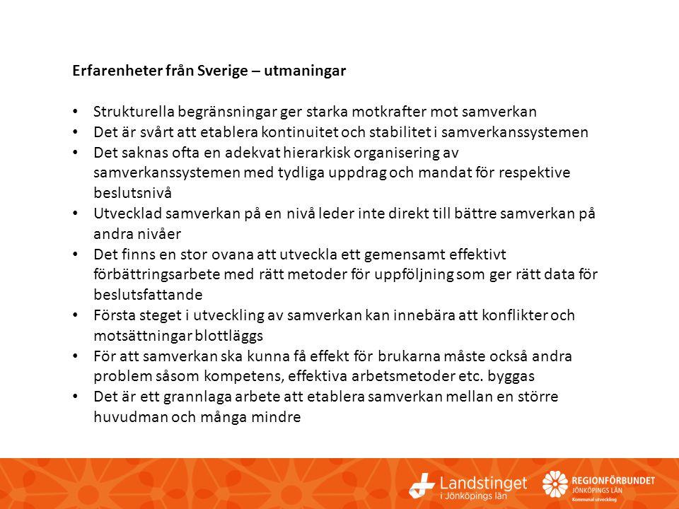 Erfarenheter från Sverige – utmaningar