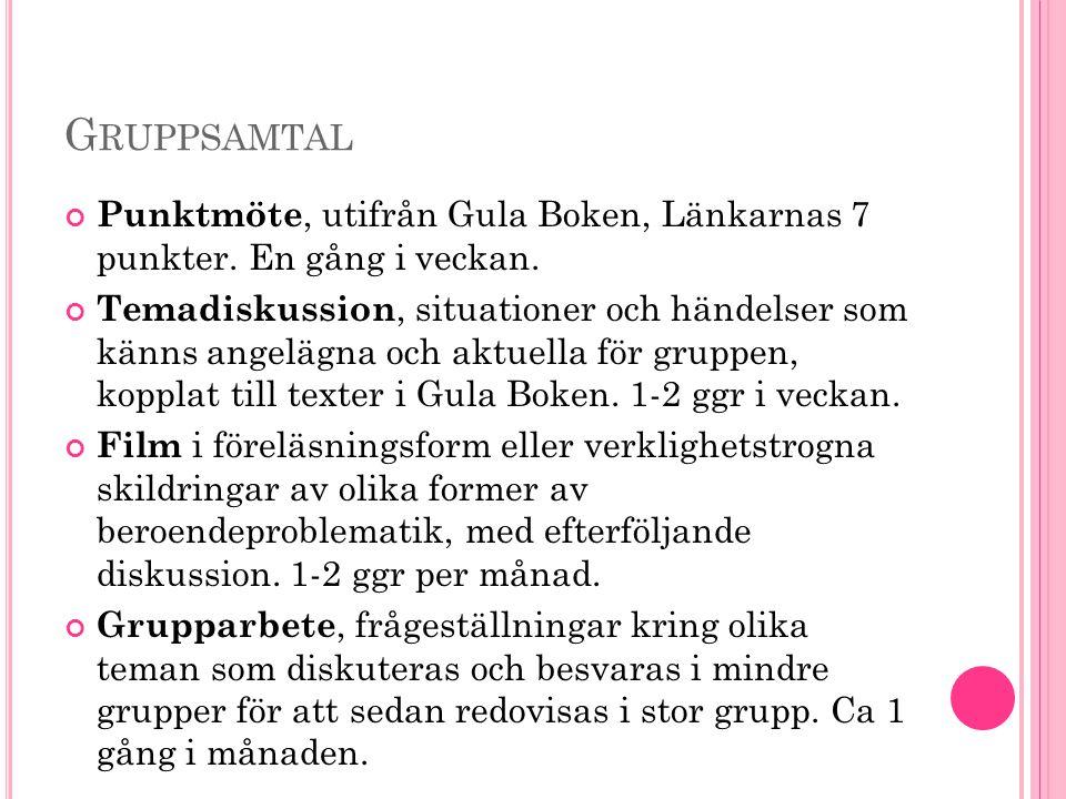 Gruppsamtal Punktmöte, utifrån Gula Boken, Länkarnas 7 punkter. En gång i veckan.