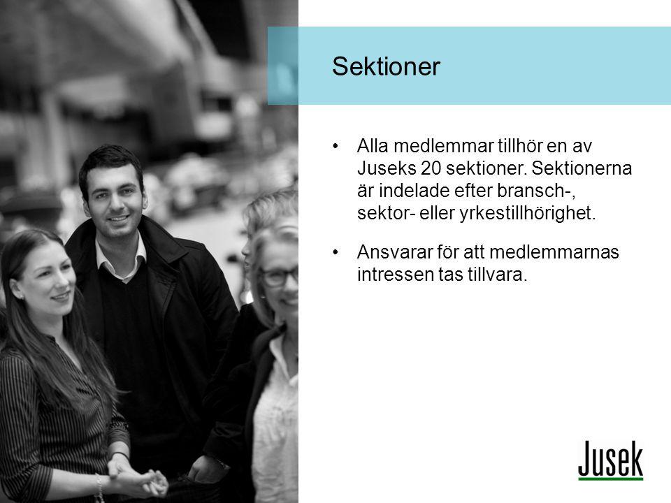 Sektioner Alla medlemmar tillhör en av Juseks 20 sektioner. Sektionerna är indelade efter bransch-, sektor- eller yrkestillhörighet.