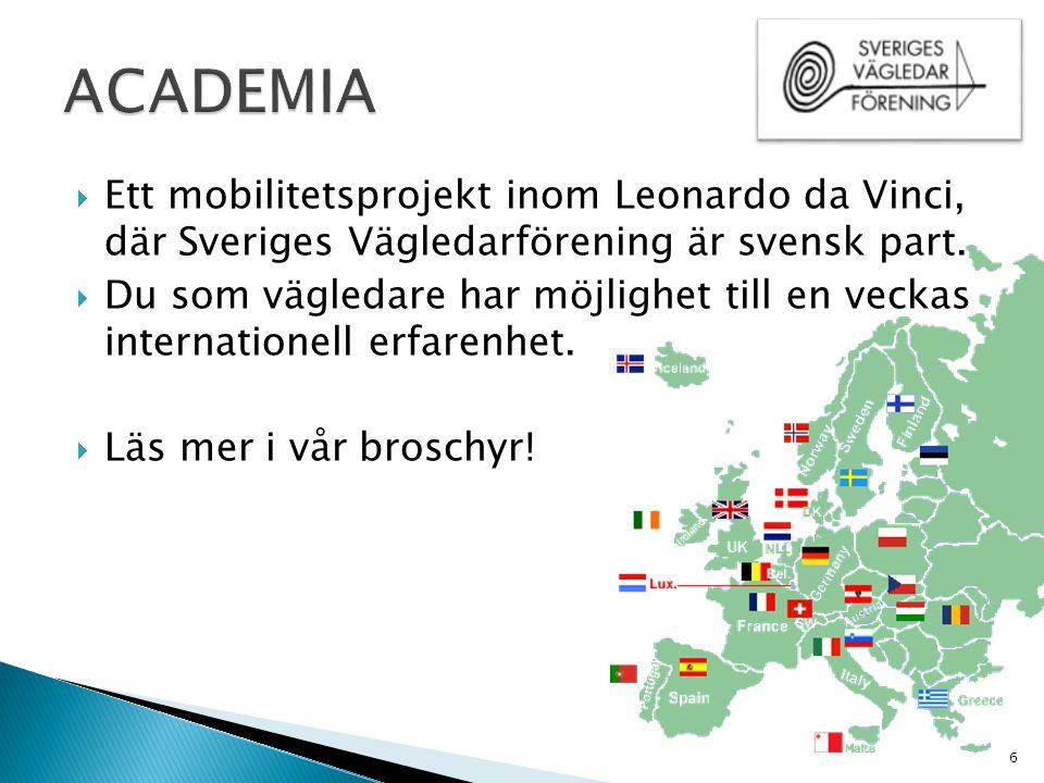 ACADEMIA Ett mobilitetsprojekt inom Leonardo da Vinci, där Sveriges Vägledarförening är svensk part.