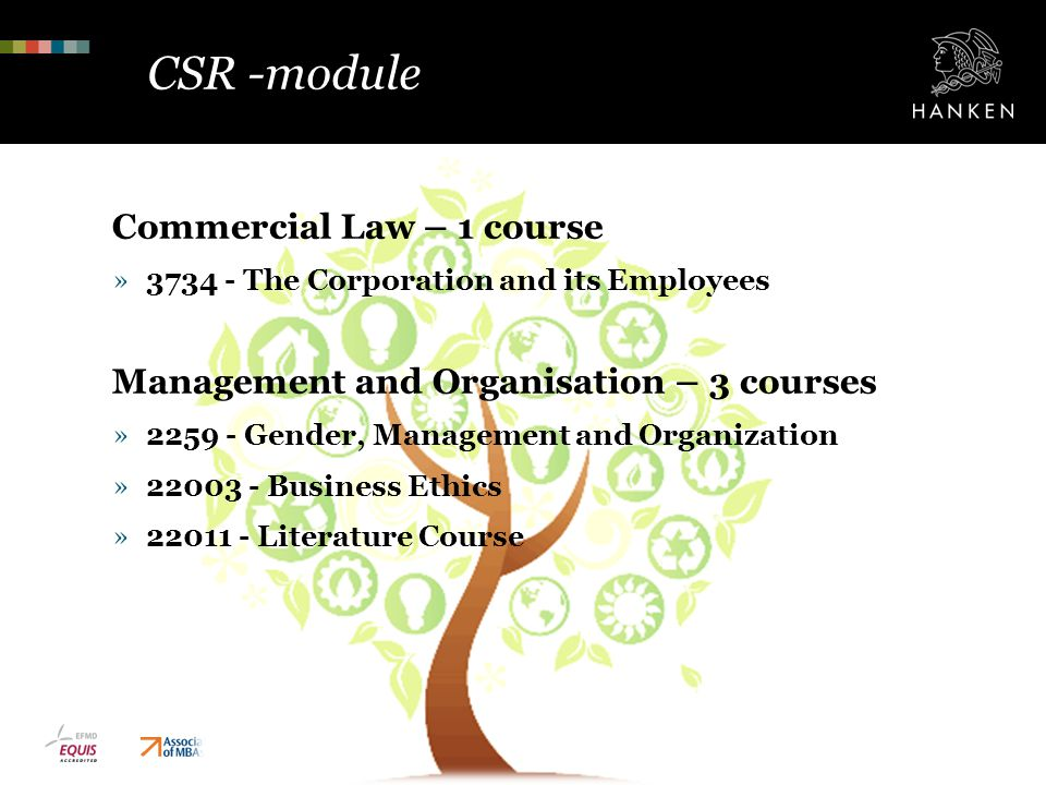 CSR -module Commercial Law – 1 course