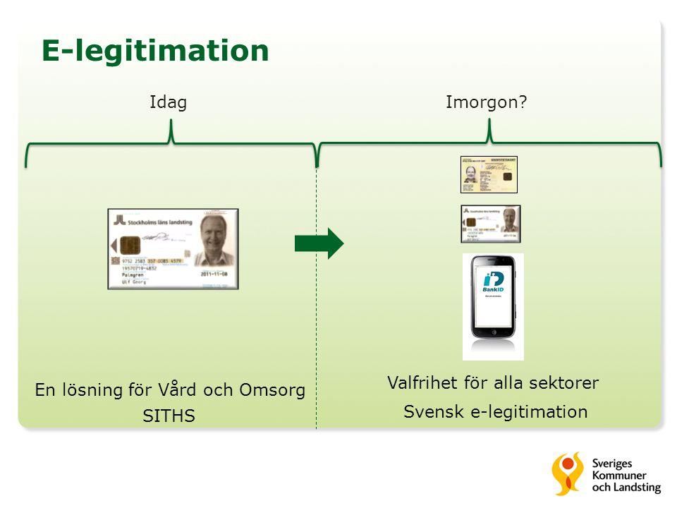 E-legitimation Idag Imorgon Valfrihet för alla sektorer