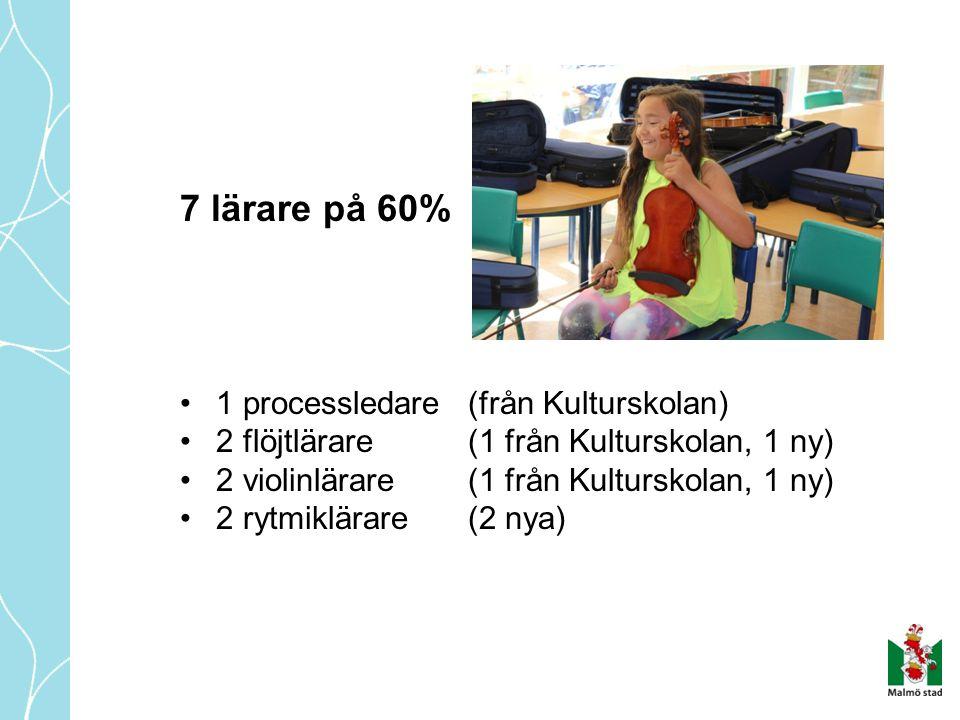 7 lärare på 60% 1 processledare (från Kulturskolan)