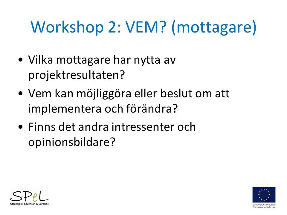 Workshop 2: VEM (mottagare)