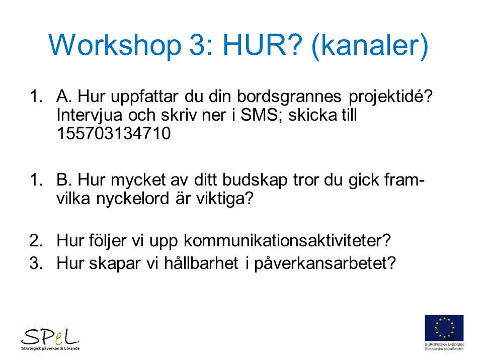 Workshop 3: HUR (kanaler)