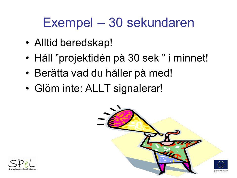 Exempel – 30 sekundaren Alltid beredskap!