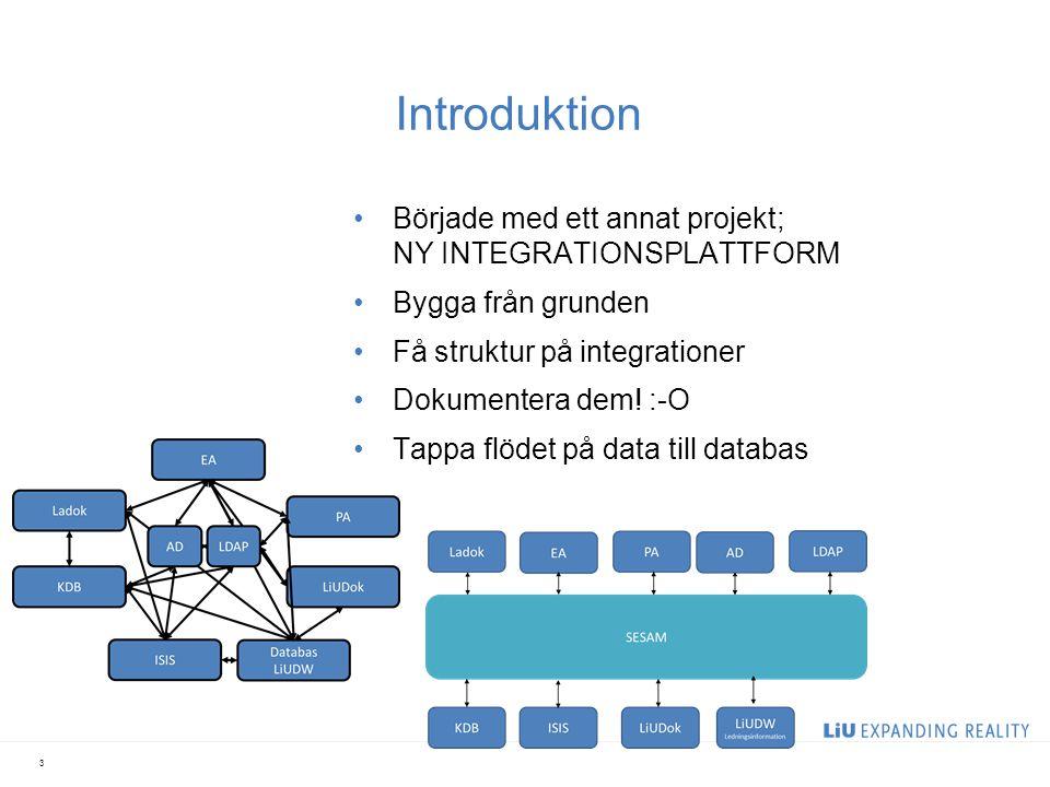 Introduktion Började med ett annat projekt; NY INTEGRATIONSPLATTFORM
